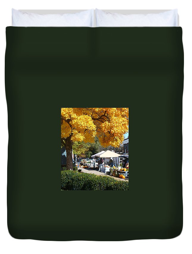 Fall Duvet Cover featuring the photograph Liberty Farmers Market by Steve Karol