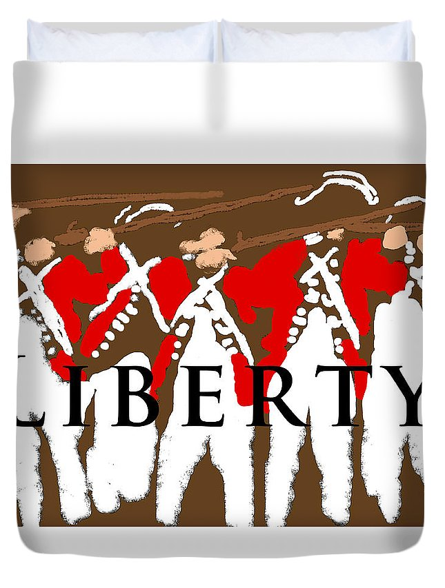 American Revolutionary War Duvet Cover featuring the photograph Liberty Revolution Brown by Suzanne Powers