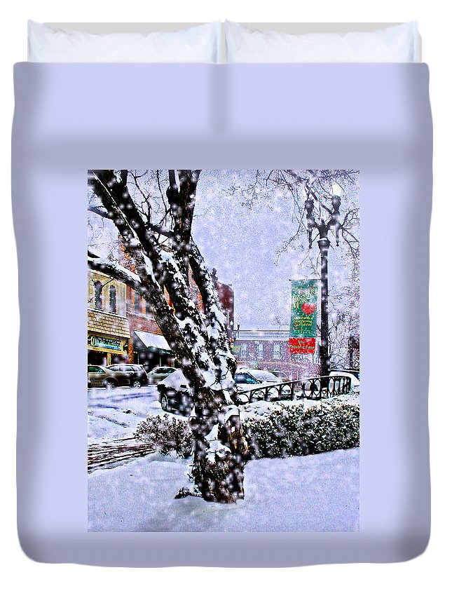 Landscape Duvet Cover featuring the photograph Liberty Square In Winter by Steve Karol