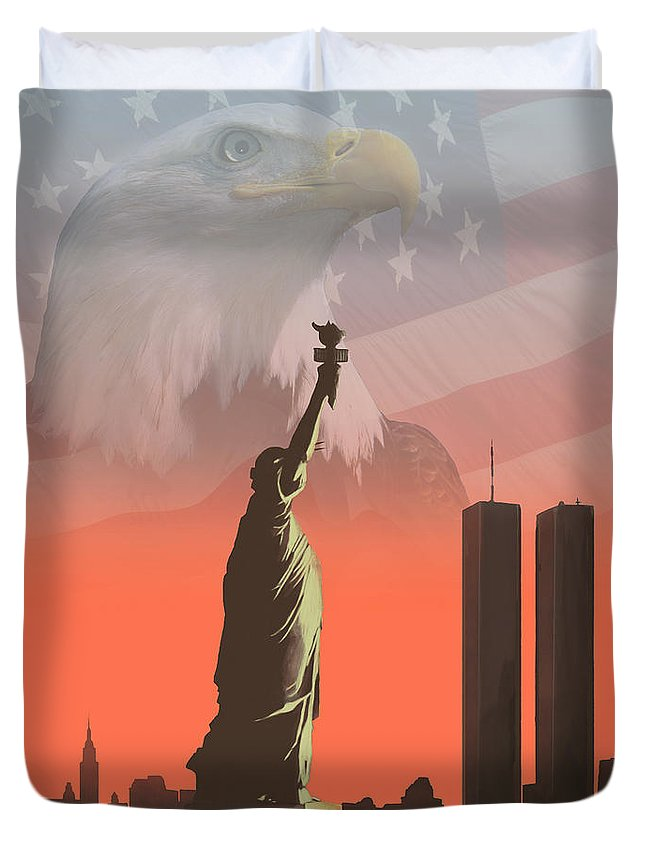Liberty Duvet Cover featuring the painting Liberty2 by Mike Linman