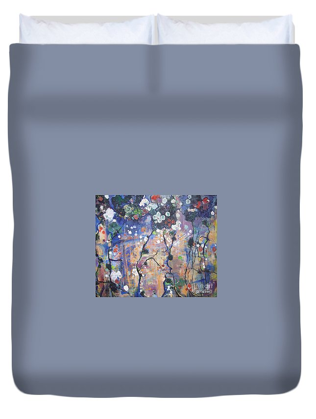 Lichen Paintings Duvet Cover featuring the painting Lichen by Seon-Jeong Kim