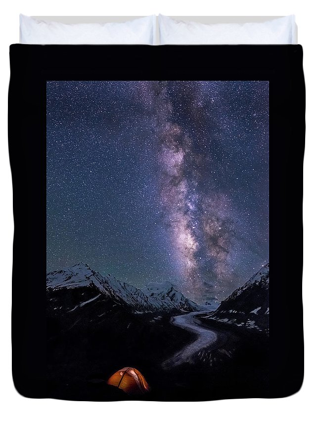 Landscape Duvet Cover featuring the photograph Lick Of Flame by Siddhartha De