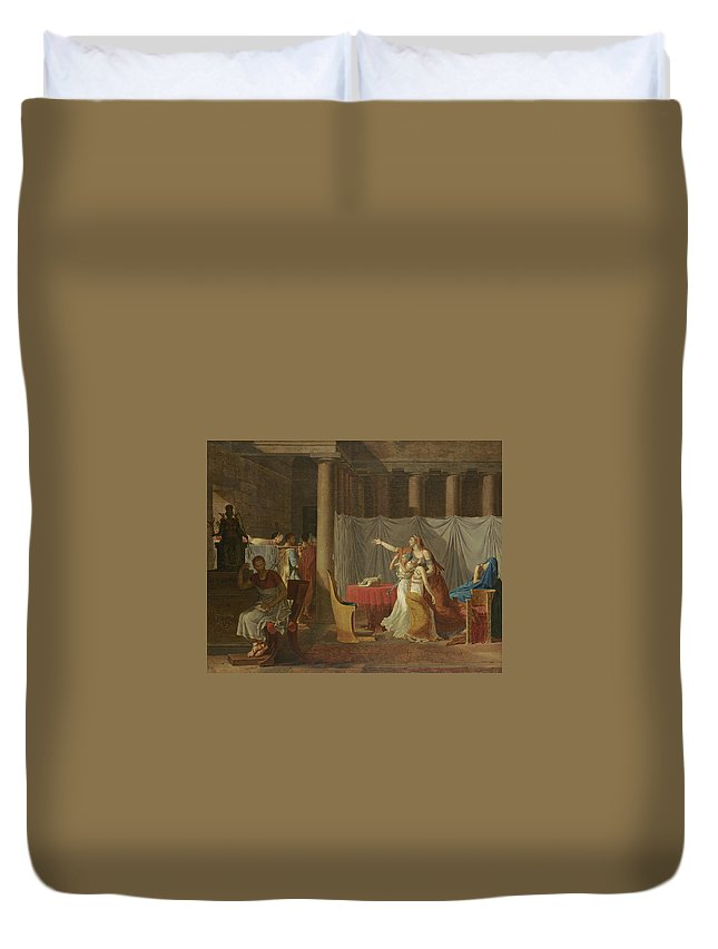 Lictors Bring Back To Brutus The Bodies Of His Sons By Jacques-louis David Duvet Cover featuring the painting Lictors Bring Back To Brutus The Bodies Of His Sons by MotionAge Designs