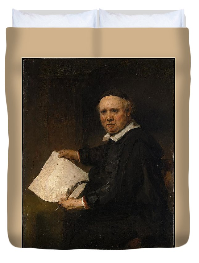 Rembrandt Lieven Willemsz Van Coppenol Born About 1599 Died 1671 Or Later Duvet Cover featuring the painting Lieven Willemsz Van Coppenol Born About 1599 Died 1671 Or Later by Rembrandt