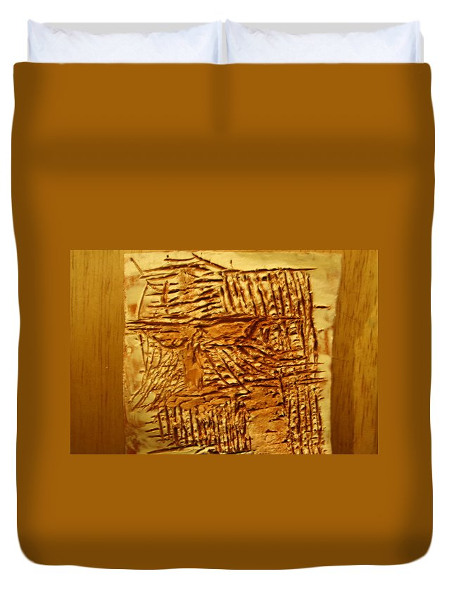 Jesus Duvet Cover featuring the ceramic art Life - Tile by Gloria Ssali