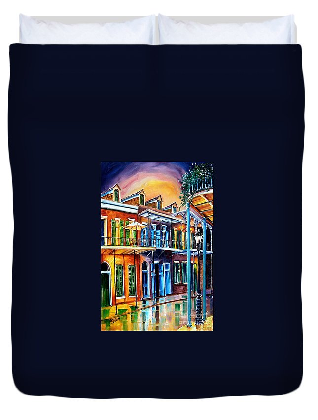 New Orleans Duvet Cover featuring the painting Life After Dark by Diane Millsap