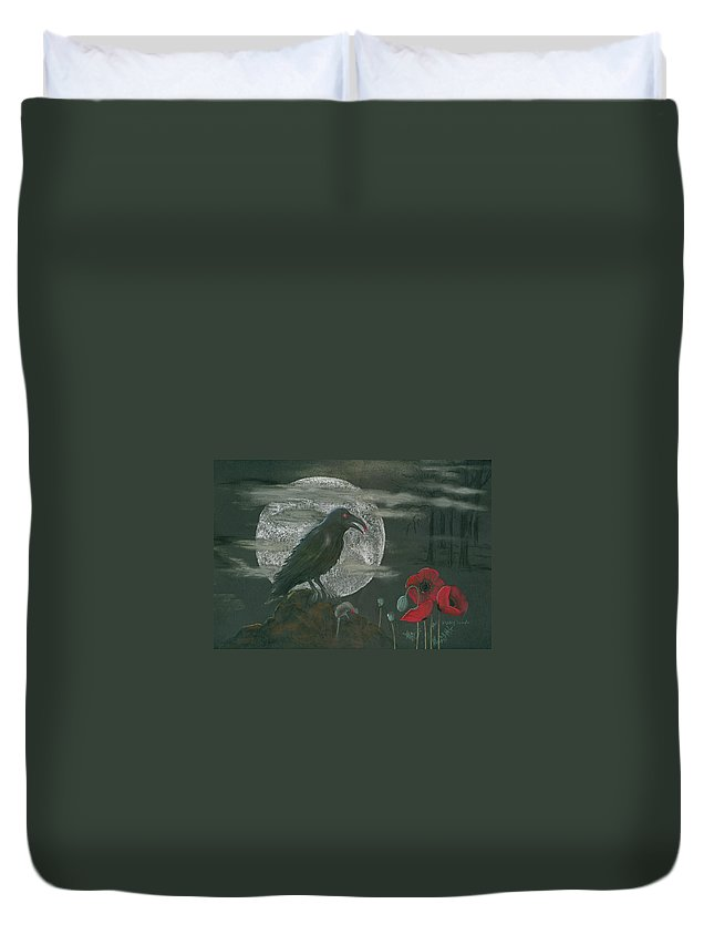 Raven Duvet Cover featuring the pastel Life And Death by Mary Tuomi