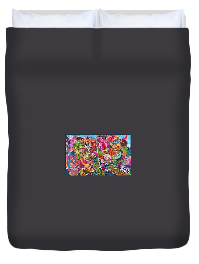 Life Duvet Cover featuring the painting Life And Death by Rollin Kocsis