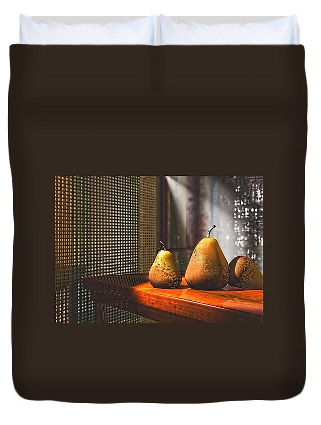 3d Duvet Cover featuring the digital art Life As A Pear by Georgiana Romanovna