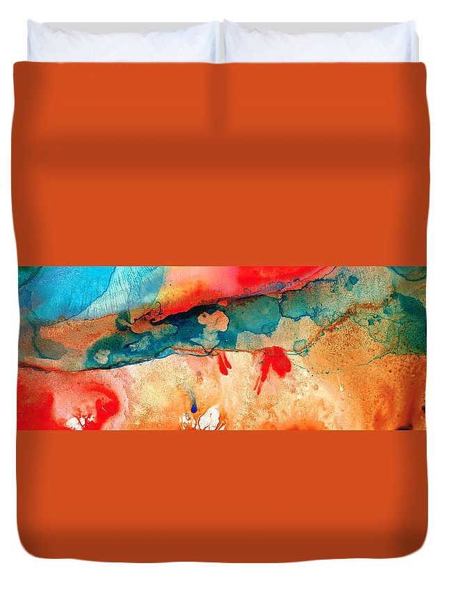 Abstract Art Duvet Cover featuring the painting Life Eternal Red And Green Abstract by Sharon Cummings