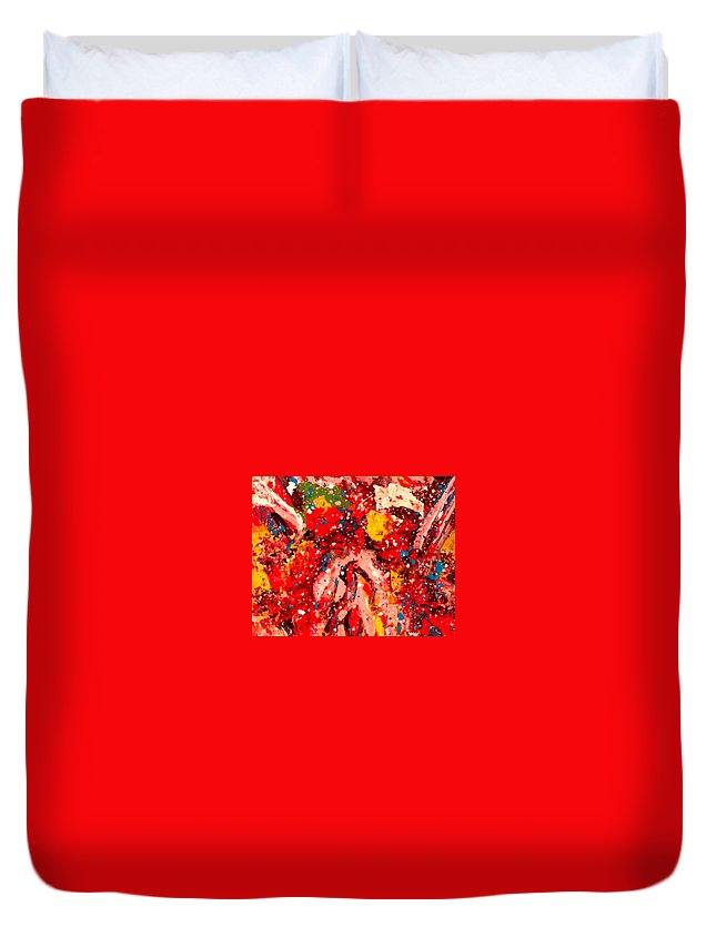 Abstract Duvet Cover featuring the painting Life Force by Natalie Holland
