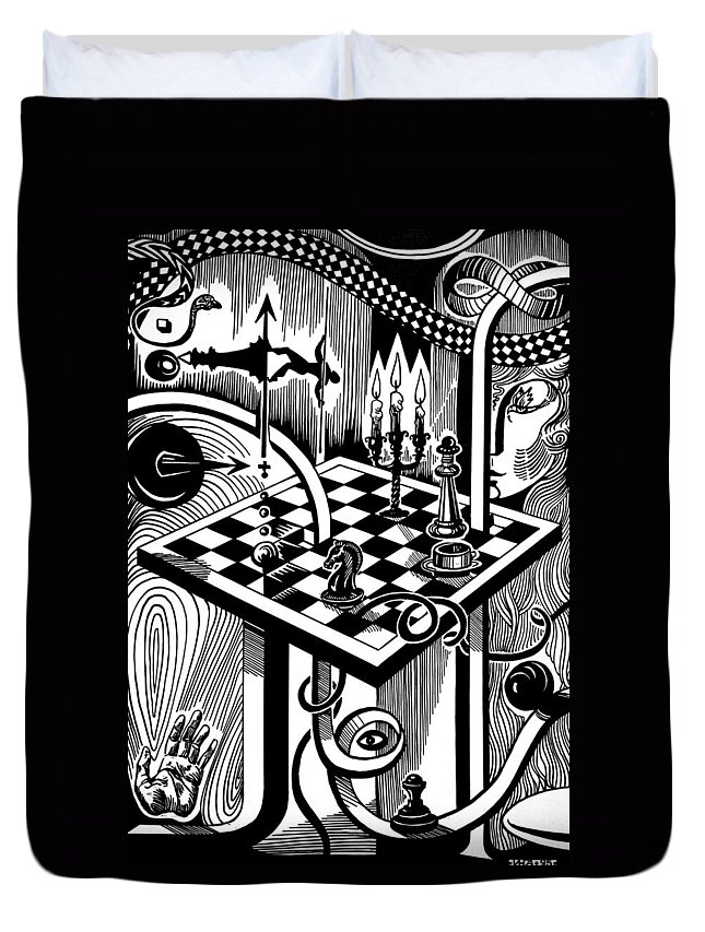 Inga Vereshchagina Duvet Cover featuring the drawing Life Game by Inga Vereshchagina