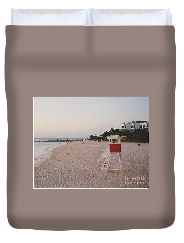 Water Duvet Cover featuring the photograph Life Guard 3 D by Michelle Powell