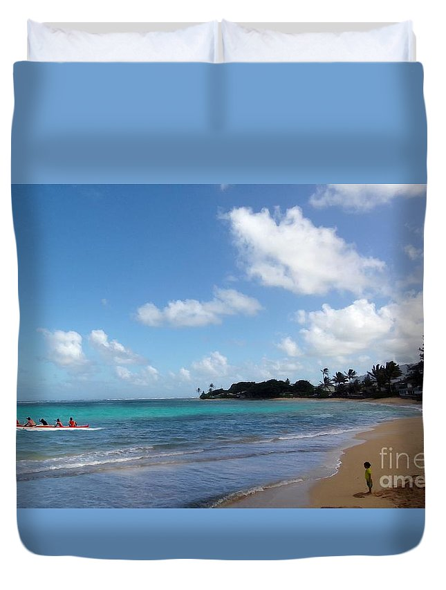 Art Print Duvet Cover featuring the painting Life In The Country Hawaii by Carl Gouveia