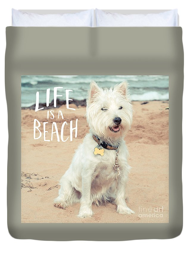 Dog Duvet Cover featuring the photograph Life Is A Beach Dog Square by Edward Fielding