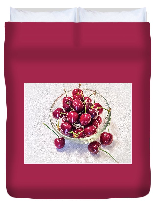 Cherry Duvet Cover featuring the photograph Life Is A Bowl Of by Robin Zygelman