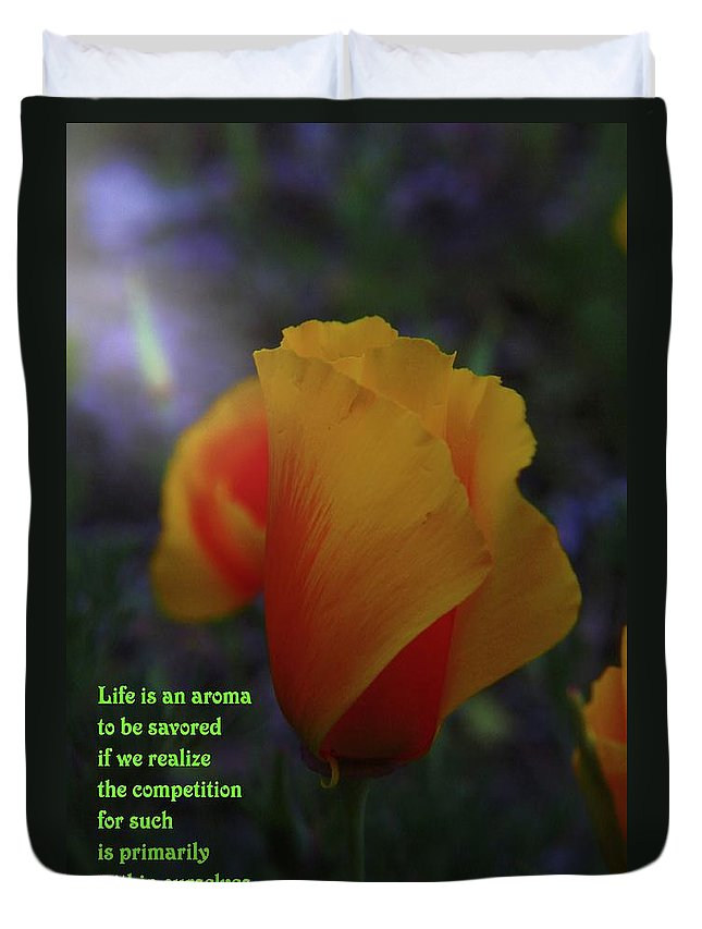 Poppy Duvet Cover featuring the photograph Life Is An Aroma by Jeff Swan