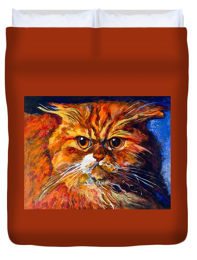 Cat Duvet Cover featuring the painting Life Isn't Easy by Maxim Komissarchik