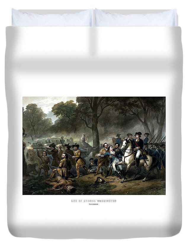 George Washington Duvet Cover featuring the painting Life Of George Washington - The Soldier by War Is Hell Store