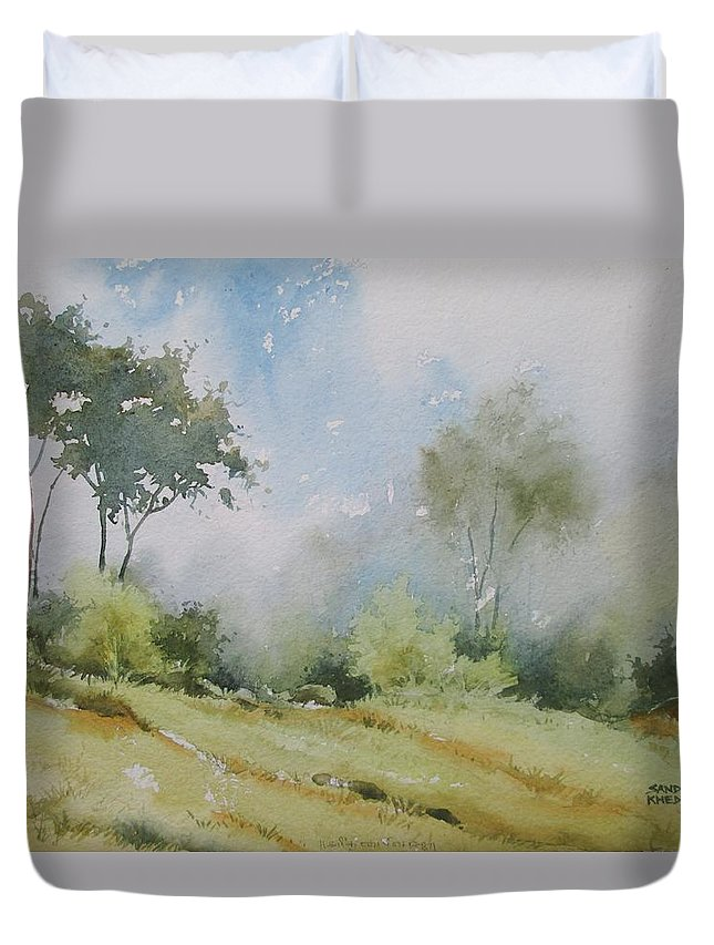 Landscapes Duvet Cover featuring the painting Life On The Edge by Sandeep Khedkar