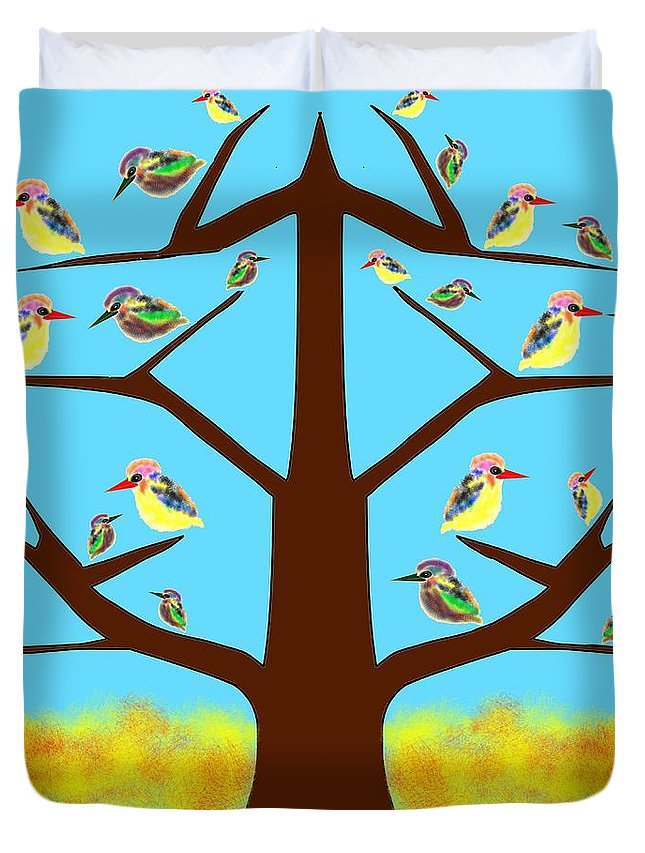 Tree Duvet Cover featuring the painting Life by Pratyasha Nithin