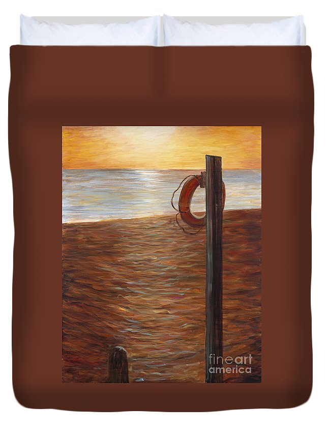 Life Ring Duvet Cover featuring the painting Life Ring At Sunset by Nadine Rippelmeyer