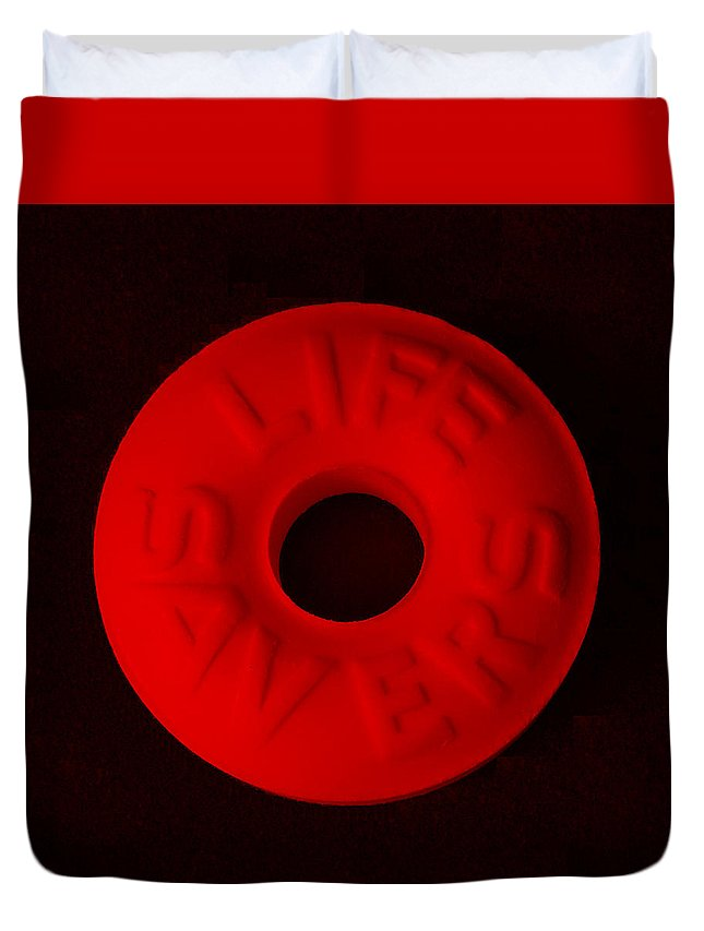 Life Saver Duvet Cover featuring the photograph Life Savers Cherry by Rob Hans