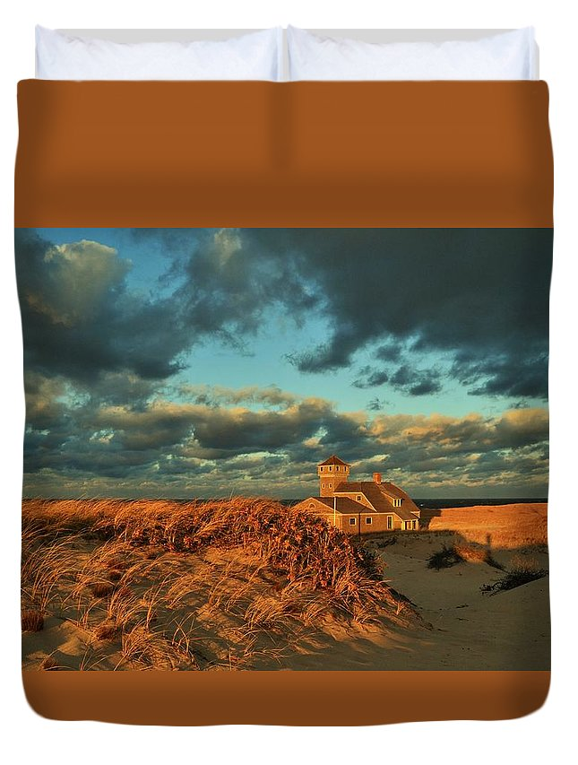 Race Point Duvet Cover featuring the photograph Life Saving Station Museum At Race Point by Marty Cowden