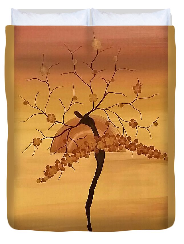 Tree Silhouette Duvet Cover featuring the painting Life Song by Kym Loc