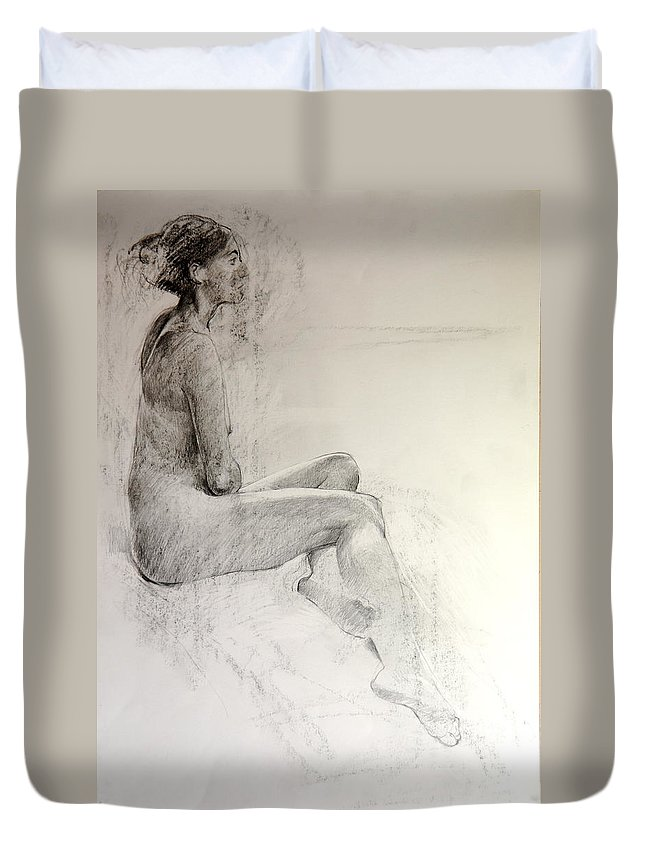 Nude Duvet Cover featuring the drawing Life Study by Harry Robertson