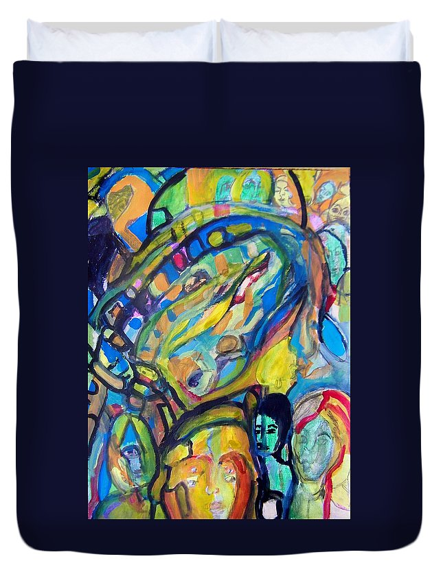 Abstract Duvet Cover featuring the painting Life-the Whiz Bang Fun Machine by Judith Redman