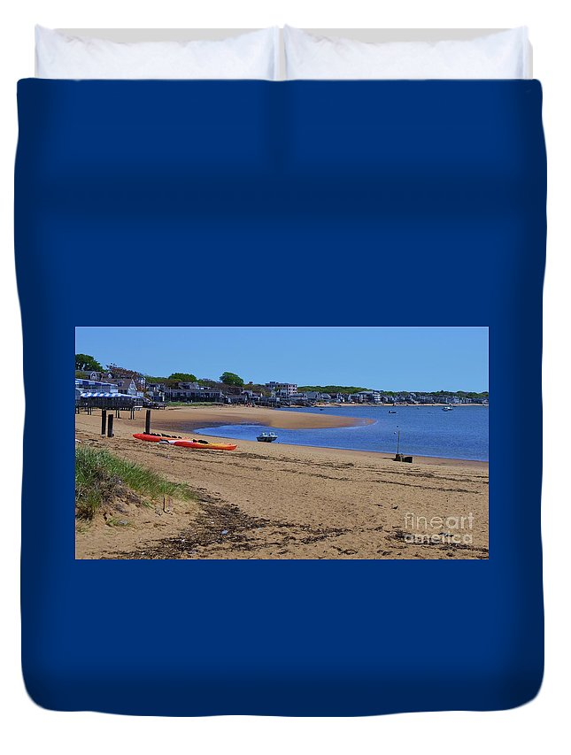 Beach Art Serenity Travel Relaxation Destination Summer Kayaks Adventure Outdoors Tranquil Boats Water Atlantic Ocean Calm Dunes Provincetown New England Cape Cod Townscape Buildings Perfect Weather Souvenir Canvas Print Wooden Frame Metal Frame Poster Print Available On Greeting Cards Shower Curtains Tote Bags Phone Cases Weekender Tote Bags Mugs T Shirts Beach Towels And Shower Curtains Duvet Cover featuring the photograph Life's A Beach In Provincetown Cape Cod by Poet's Eye