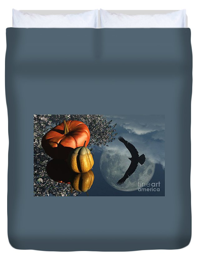 Harvest Moon Duvet Cover featuring the digital art Life's Reflections by Richard Rizzo