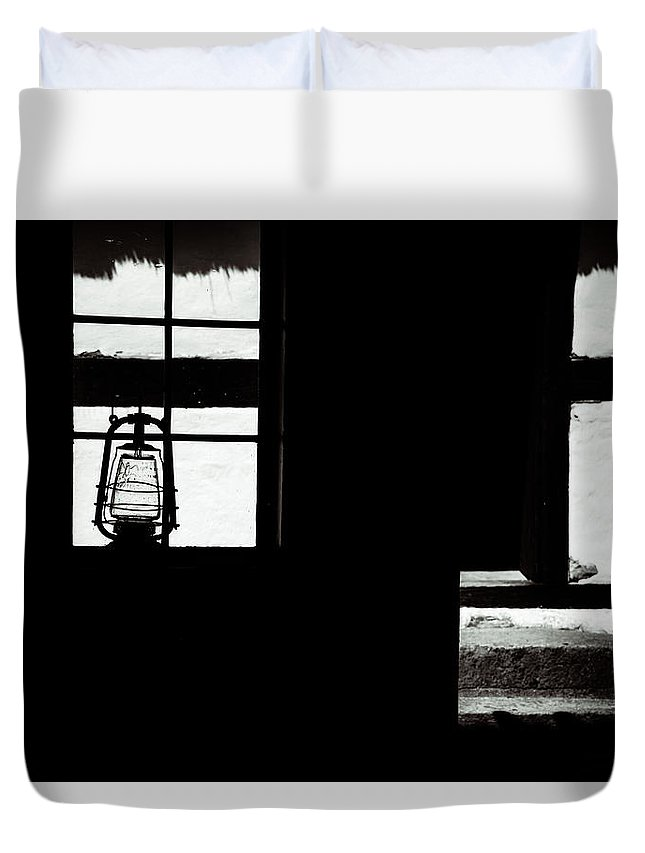 Gas Lamp Duvet Cover featuring the photograph Light And Darkness by Catalin Tibuleac