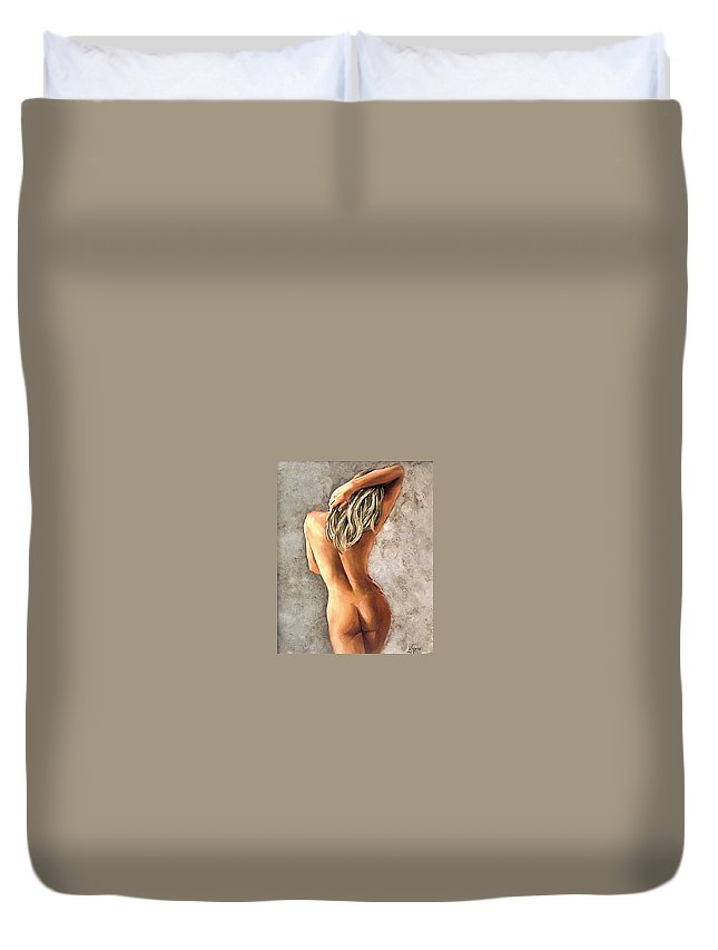 Portrait Duvet Cover featuring the painting Light And Nudity by Natalia Tejera