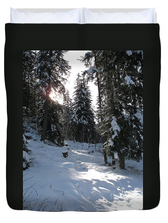 Snow Duvet Cover featuring the photograph Light And Shadow On A Snowy Landscape by Christiane Schulze Art And Photography