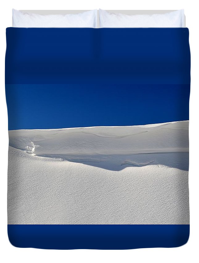 Abstract Duvet Cover featuring the photograph Light And Shadow On The Snow by Lyle Crump
