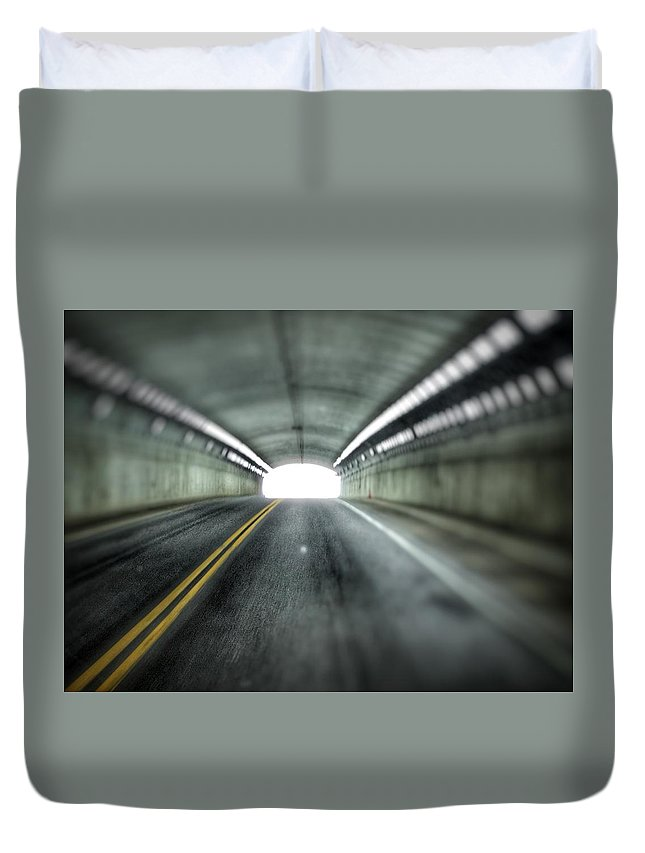 Duvet Cover featuring the photograph Light At The End Of The Tunnel by Christopher McClune-Case