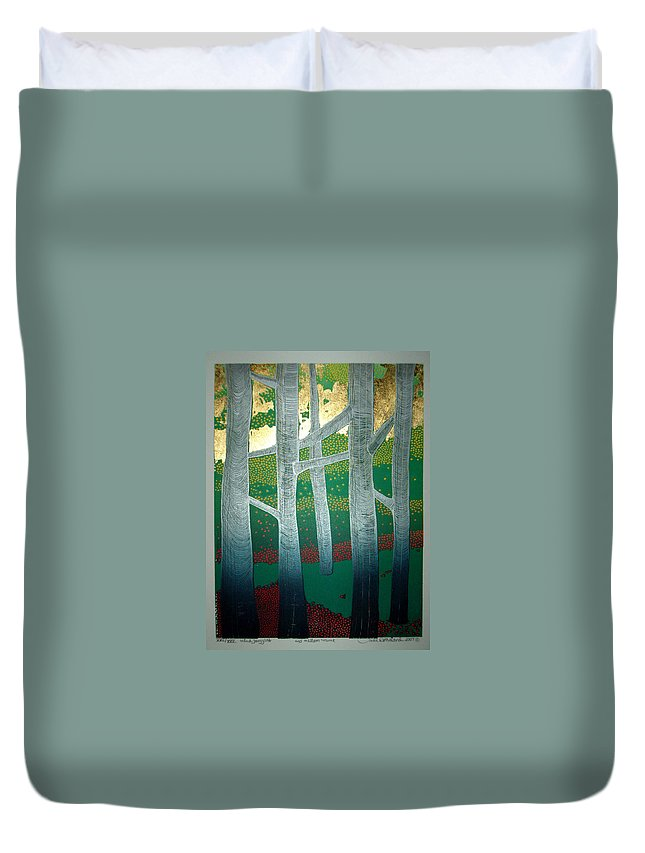 Landscape Duvet Cover featuring the mixed media Light Between The Trees by Jarle Rosseland