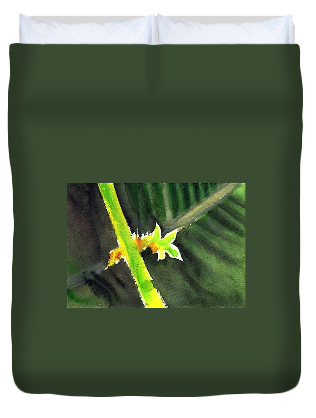 Water Color Duvet Cover featuring the painting Light Branch by Anil Nene