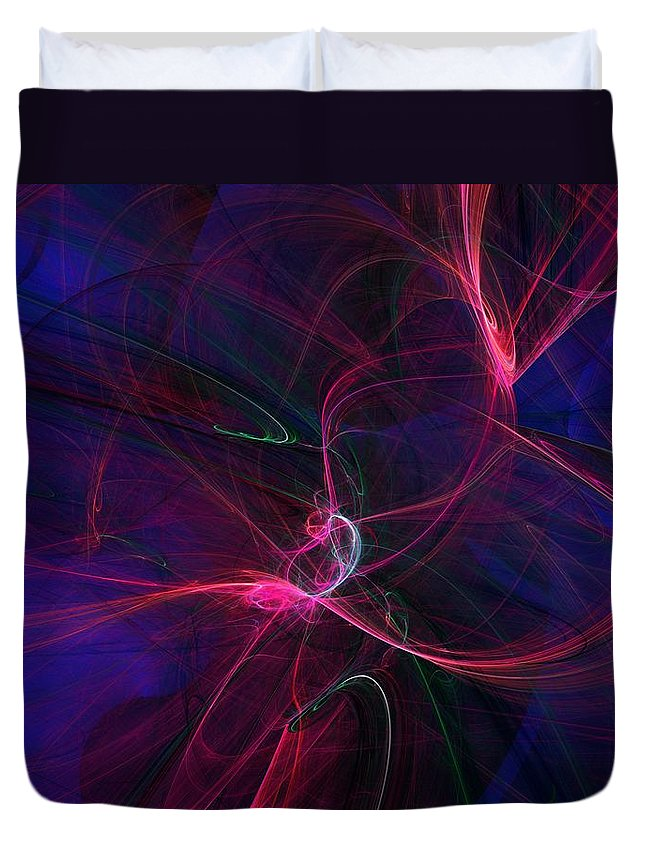 Abstract Digital Painting Duvet Cover featuring the digital art Light Dance 11-25-09 by David Lane