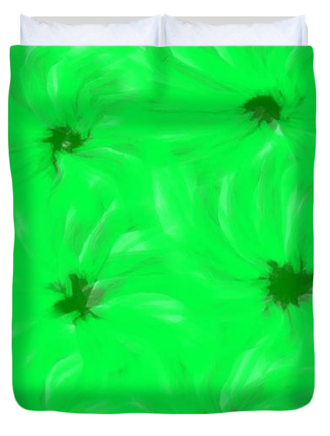 Light Green And Dark Green Flower Abstract Duvet Cover