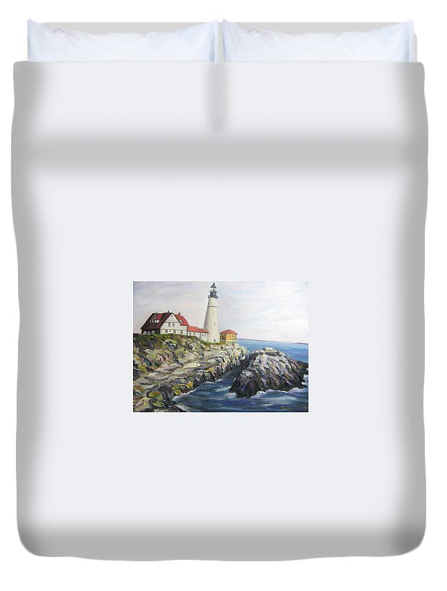 Portland Duvet Cover featuring the painting Light House by Richard Nowak