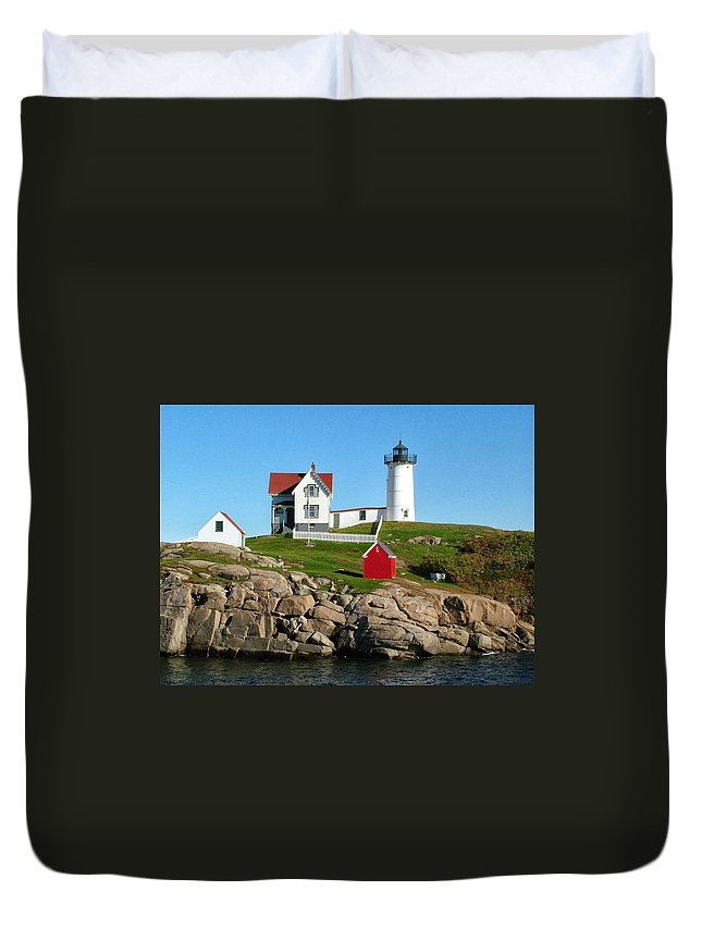 Nature Duvet Cover featuring the photograph Light House by Thomas Comeau