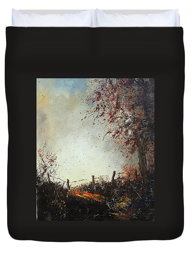 Tree Duvet Cover featuring the painting Light In Autumn by Pol Ledent