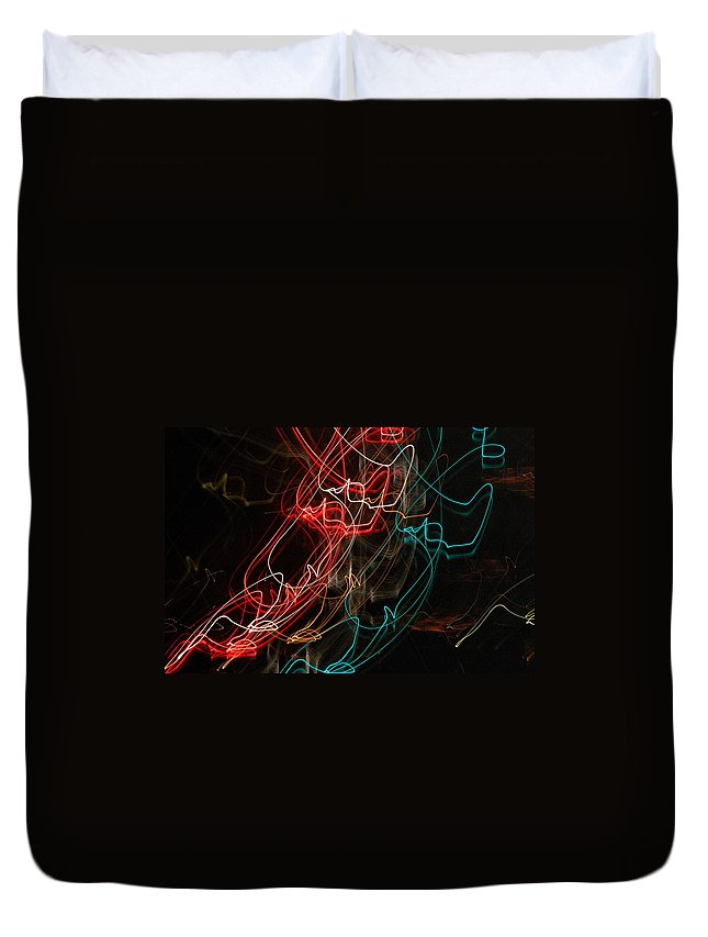 Abstract Digital Photo Duvet Cover featuring the photograph Light In Motion by David Lane