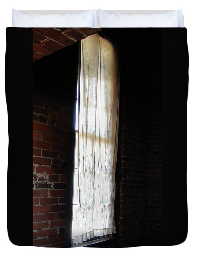 Windows Duvet Cover featuring the photograph Light In The Darkness by Peg Urban