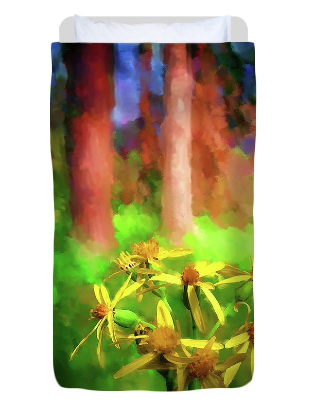 Wildflowers Duvet Cover featuring the digital art Light In The Forest by Jo-Anne Gazo-McKim