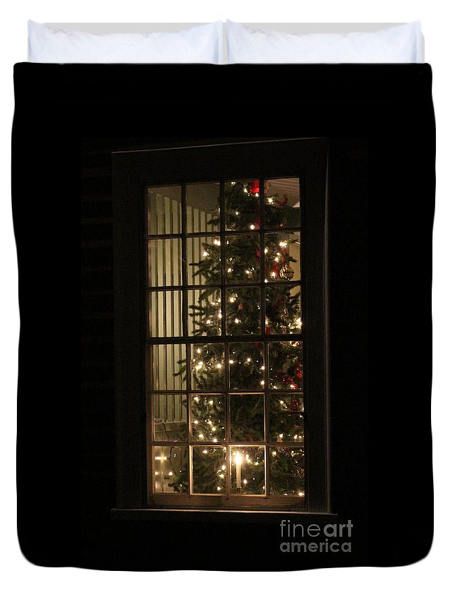 Christmas Tree Duvet Cover featuring the photograph Light In The Night by Lisa D'Adamo-Weinstein
