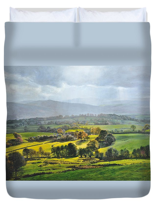 Wales Duvet Cover featuring the painting Light In The Valley At Rhug. by Harry Robertson